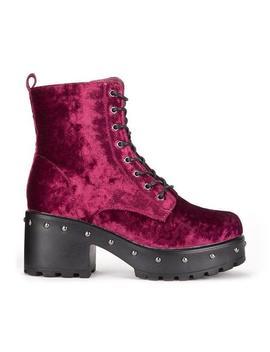 Burgundy Wine Studded Military Crushed Velvet Platform Boots by Koi Footwear