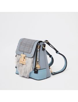 Blue Check Faux Fur Lock Front Backpack by River Island