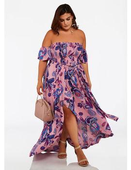 Off Shoulder Paisley Maxi Dress by Ashley Stewart