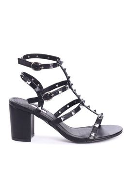 Tessa   Black Studded Block Heeled Sandal by Trendeo