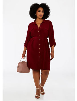 Rolled Sleeve Button Shirt Dress by Ashley Stewart