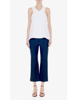 Structured Crepe V Neck Sleeveless Top by Tibi