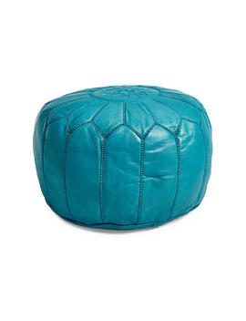 Moroccan Leather Pouf, Turquoise by One Kings Lane