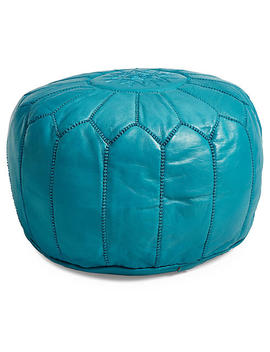 Moroccan Leather Pouf, Silver by One Kings Lane