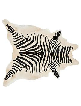 "6'x7'5"" Devore Zebra Hide, Silver/White by [""Saddlemans""]"