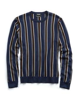 Italian Silk/Cotton Vertical Stripe Sweater by Todd Snyder