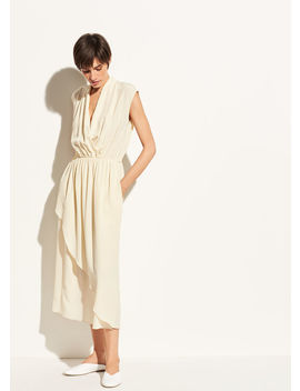Draped Cross Front Silk Dress by Vince