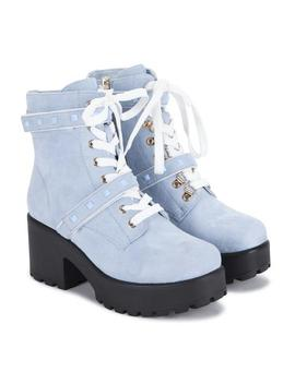 Blue Suede Studded Strap Chunky Platform Boots by Koi Footwear
