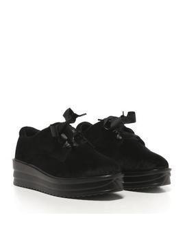Black Suede Flatform Ribbon Lace Up Creeper Shoe by Koi Footwear