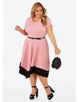 Color Block Belted Midi Dress by Ashley Stewart