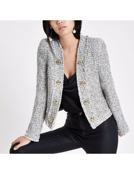 White And Black Long Sleeve Boucle Jacket by River Island
