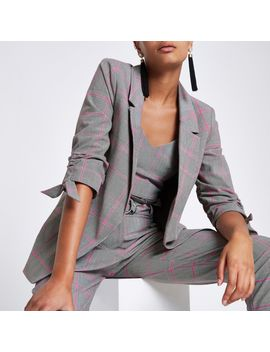 Grey Check Ruched Sleeve Blazer                                    Pink Check Bralet                                      Pink Check Tapered Trousers by River Island