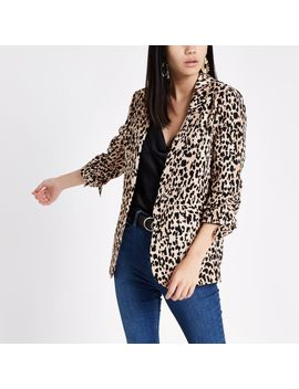 Brown Leopard Print Ruched Sleeve Blazer by River Island