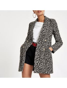 Brown Leopard Print Double Breasted Jacket by River Island