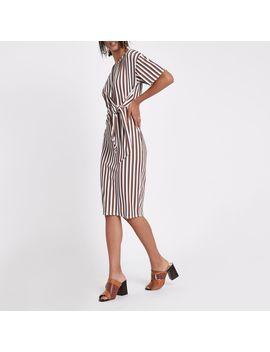 Cream Stripe Rib Tie Front Midi Dress by River Island
