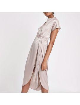Beige Pink Satin Tie Waist Dress by River Island