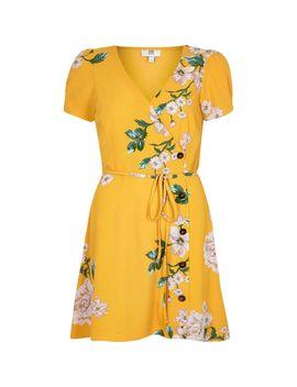 Petite Yellow Floral Print Button Mini Dress by River Island