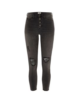 Petite Black Molly Studded Ripped Jegging by River Island
