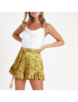 Petite Yellow Floral Print Frill Hem Shorts by River Island
