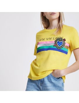 Petite 'Une Vie' Brooch T Shirt by River Island