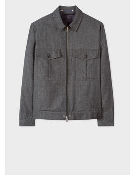 Men's Charcoal Grey Wool Blend Twill Patch Pocket Jacket by Paul Smith