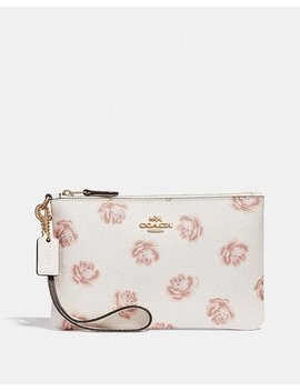 Small Wristlet With Rose Print by Coach