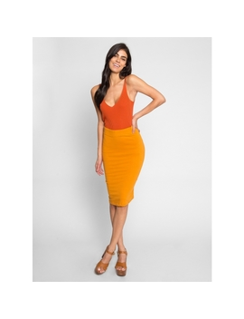 Totally Right Fitted Skirt In Mustard by Wet Seal