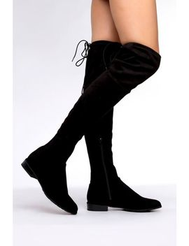 Black Over The Knee Faux Suede Boots by Trendeo