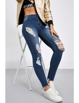 Mid Wash Skinny Distressed Jeans by Trendeo