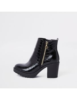 Bottines Grain Croco Noires épaisses by River Island