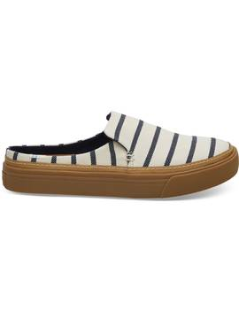 Navy Riviera Stripe Women's Sunrise Mule Slip Ons by Toms