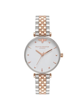 Olivia Burton Queen Bee Silver & Rose Gold Plated Ladies Watch by Beaverbrooks