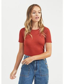 Crew Neck Ribbed T Shirt by Miss Selfridge