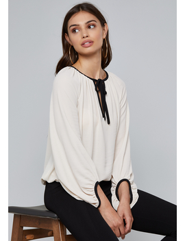 Crepe Blouson Top by Bebe