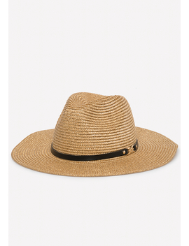 Gold Straw Panama Hat by Bebe