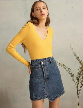 Yellow Ribbed V Top by Pixie Market