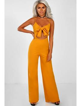 Knots For You Mustard Knot Front Jumpsuit by Pink Boutique