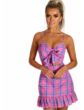 Checking You Out Pink And Blue Check Frill Hem Mini Dress by Pink Boutique