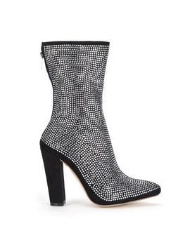 Black Glitter Feature Block Heel Ankle Boots by Koi Footwear