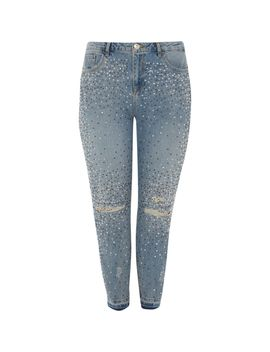 Plus Blue Alannah Embellished Jeans by River Island