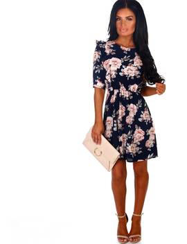Positive Vibes Navy Multi Floral Frill Tea Dress by Pink Boutique