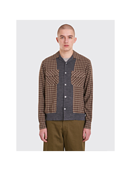 Undercover Ribbed Panel Shirt Brown Checks by Très Bien