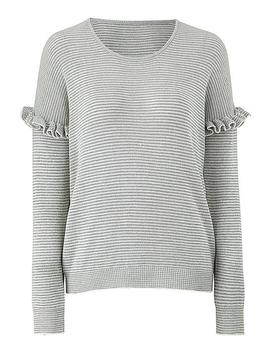 Frill Sleeve Metallic Stripe Jumper by Simply Be