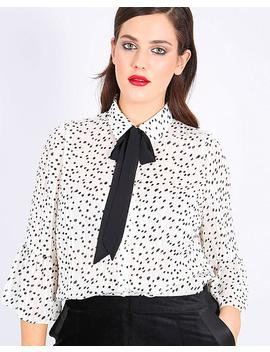 Lovedrobe Print Blouse With Contrast Pussy Bow by Simply Be