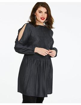Volume Sleeve Shirred Waist Denim Dress by Simply Be