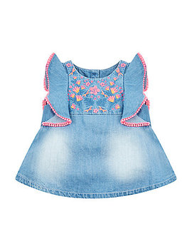 Floral Embroidered Denim Blouse by Mothercare