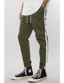 Military Green/White Stretch Twill Track Pant by Elwood Clothing