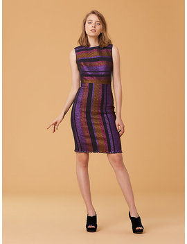 Metallic Stripe Sheath Dress by Dvf