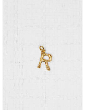 """Alphabet """"R"""" Mini Pendant In Brass With Gold Finish by Celine"""