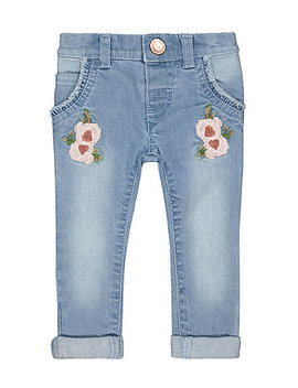 Floral Embroidered Denim Jeans by Mothercare